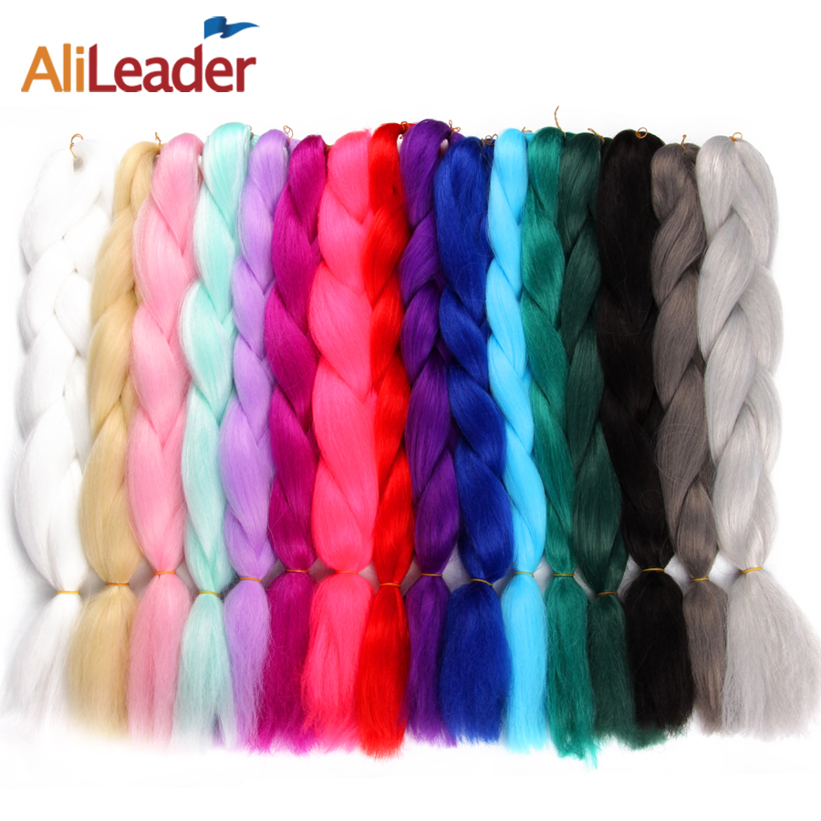 AliLeader Kanekalon Hair Crochet Braids Pink Ungu Green Braiding Hair, 24 inci 100G Extension rambut sintetik Jumbo Braids 1PC