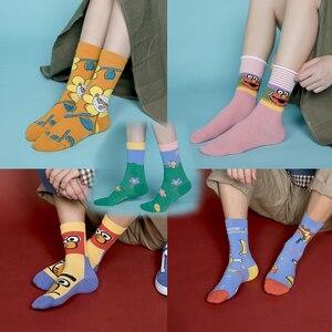 Image 5 - 5 זוגות\סט אופנה נשים/גברים גרבי Harajuku צבעוני כותנה רגיל האיחוד האירופי גודל 36 44