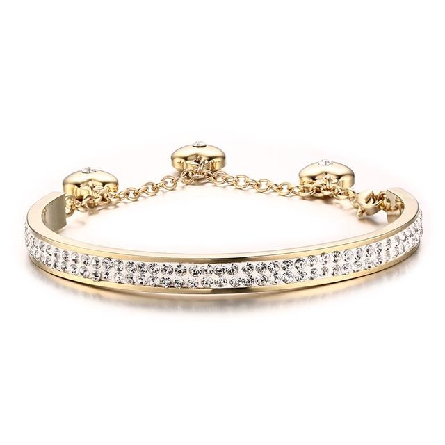 Women Bangle Bracelet Crystal Stainless