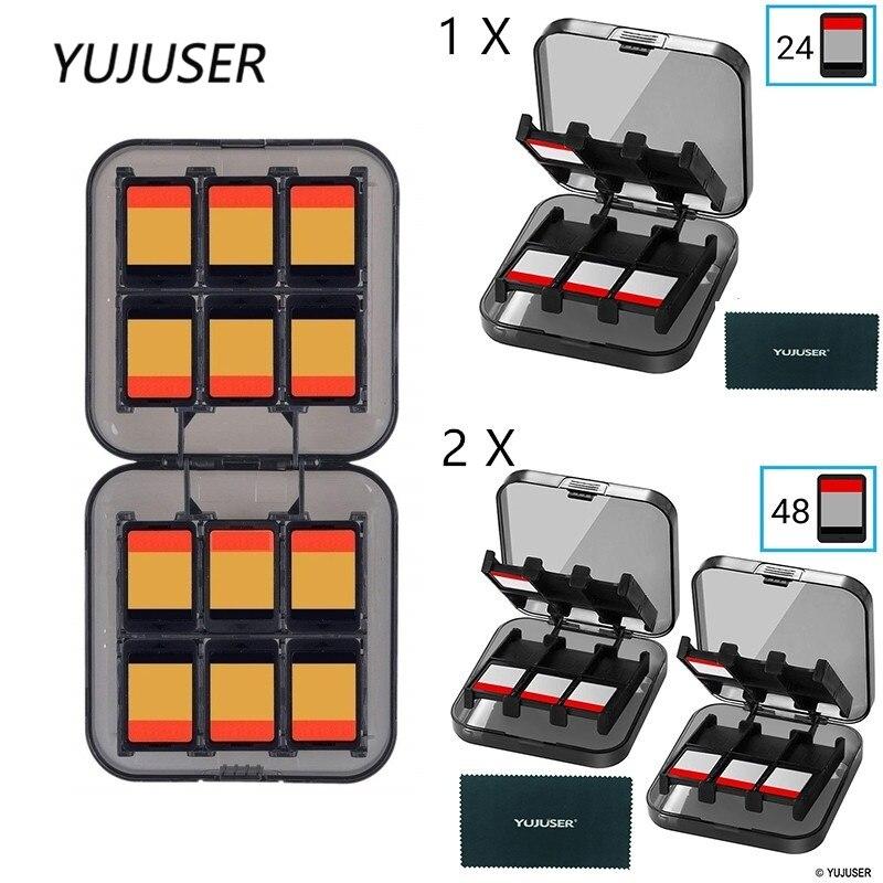 YUJUSER 1Pcs or 2Pcs 24 Slots Games Card Case Holder for Nintendo DS Games for Nintendo Wii Plastic Card Organizer Case