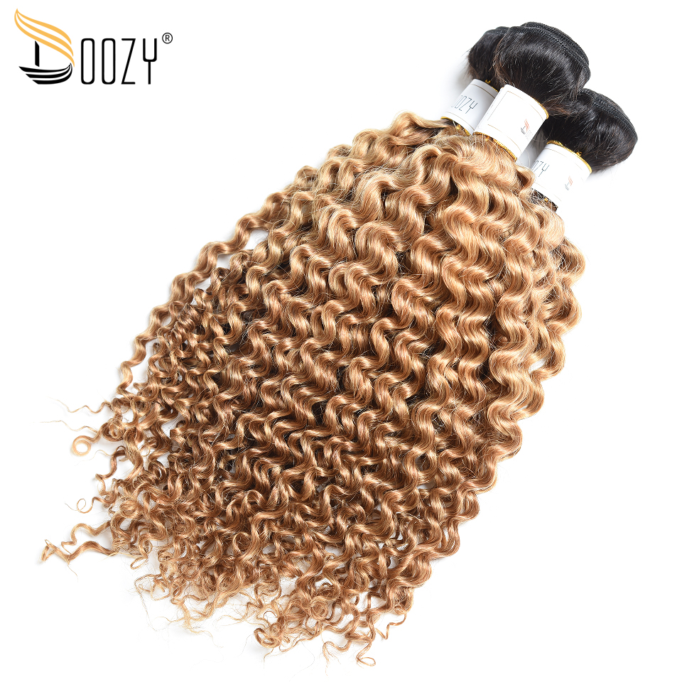Doozy ombre honey blonde brazilian hair bundles double weft hair extensions color 1b/27 afro kinky curly human hair weaving