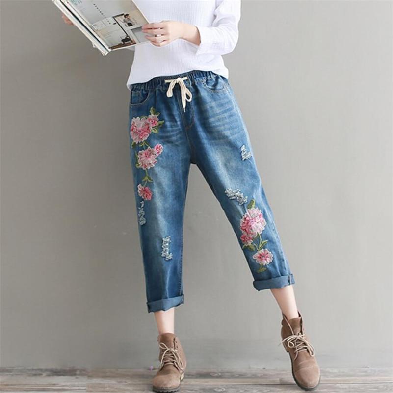 2019 New Style Spring Autumn Women jeans loose Harem pants Vintage Elastic Denim Pants Embroidery flowers pants r998