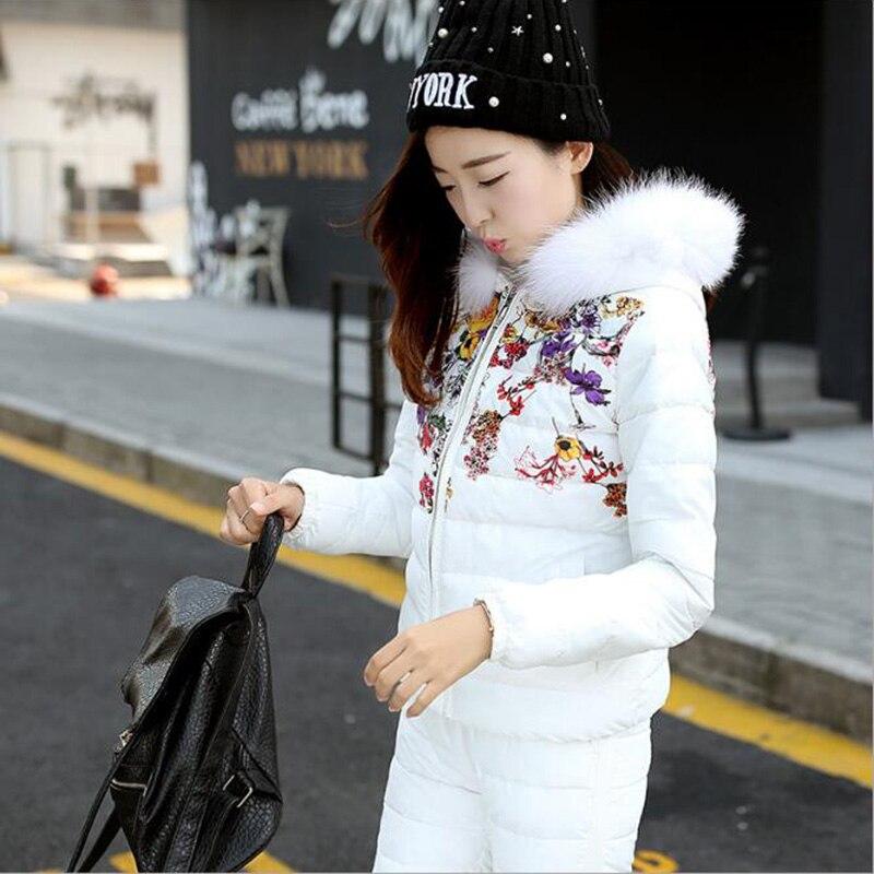 Le Coton 2017 Veste Nouvelle Femmes Bas White Pièce 2 pink Ensembles Vêtements Vers Manteau Impression Pantalon Hiver Costume black Capuchon De À blue a0x5wqYwU