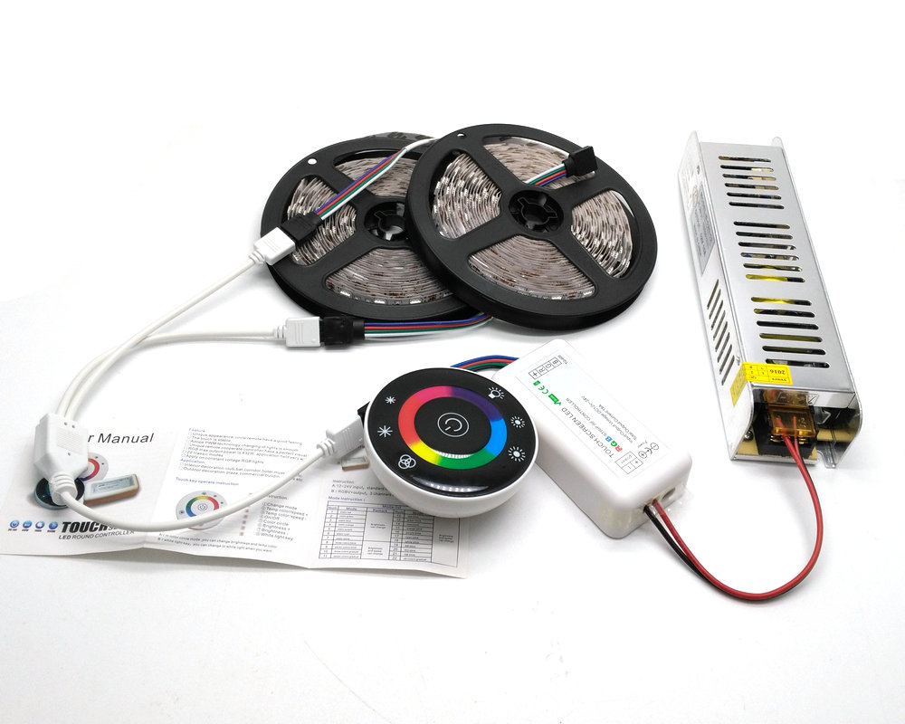 5M/10M/15M 5050 RGB LED Strip Set IP20/IP65 Waterproof With 7Keys Wireless RF touch Controller With 12V Power Supply Adapter akg pae5 m