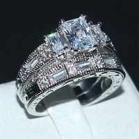 Choucong Handmade Women Jewelry Ring 3ct 5A Zircon Stone Cz 925 Sterling Silver Engagement Wedding Band