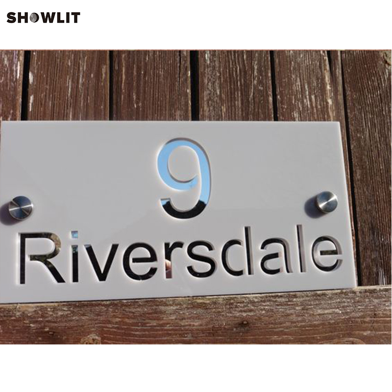 Stainless Steel Sign, Grade 304 with brushed finish mounted with Mounting Spacers brushed stainless steel 304 grade door number 3