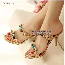 Women slippers 2017 Gold Silver high-heeled Slippers rhinestone sandals shoes fashion Stiletto heels gold female