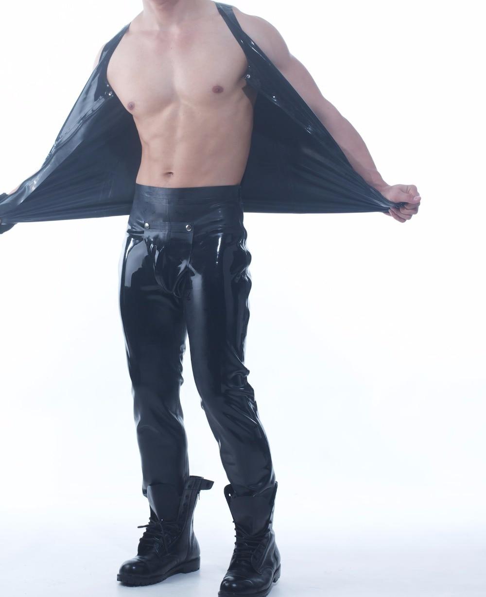 Latex caoutchouc Costume pour hommes en caoutchouc Latex Codpiece Long pantalon avec Zip chemises