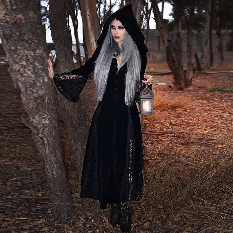Imily Halloween Gothic Hooded Maxi Dress Vintage Sexy Long Flare Sleeve Lace Patchwork Button Long Dress V Neck Empire Vestidos