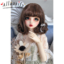 Allaosify 1 шт. коричнево-черные короткие вьющиеся волосы BJD парик 1/3 1/4 1/6 bjd кукла парик