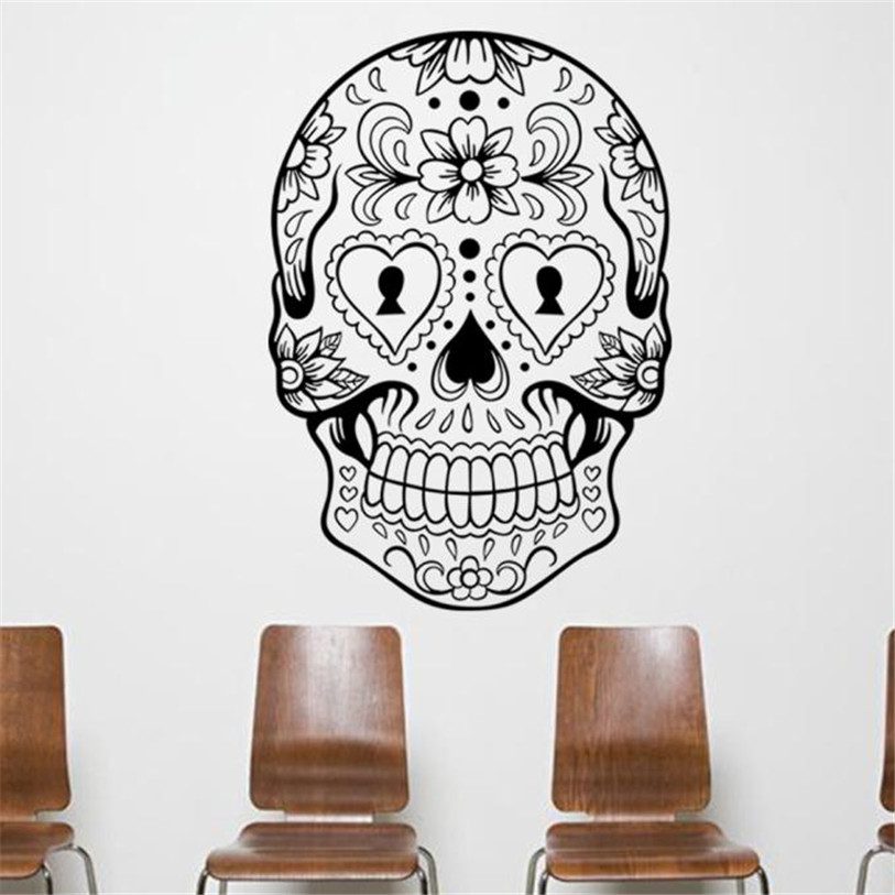 Fashion Art Skull Wall Sticker Flower Home Decor Living ...