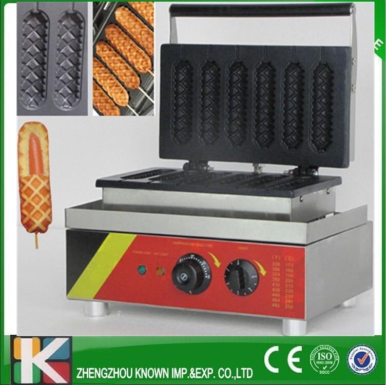 6 grid crisp corn type hot dog machine/ hot dog maker/ 220V electric corn hot dog baker electric 6holes  slot crisp balls