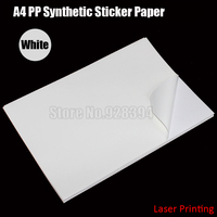 30sheets White A4 PP Synthetic Paper Adhesive Sticker Paper Printing Paper Glossy Sheet Fit Laser Printer
