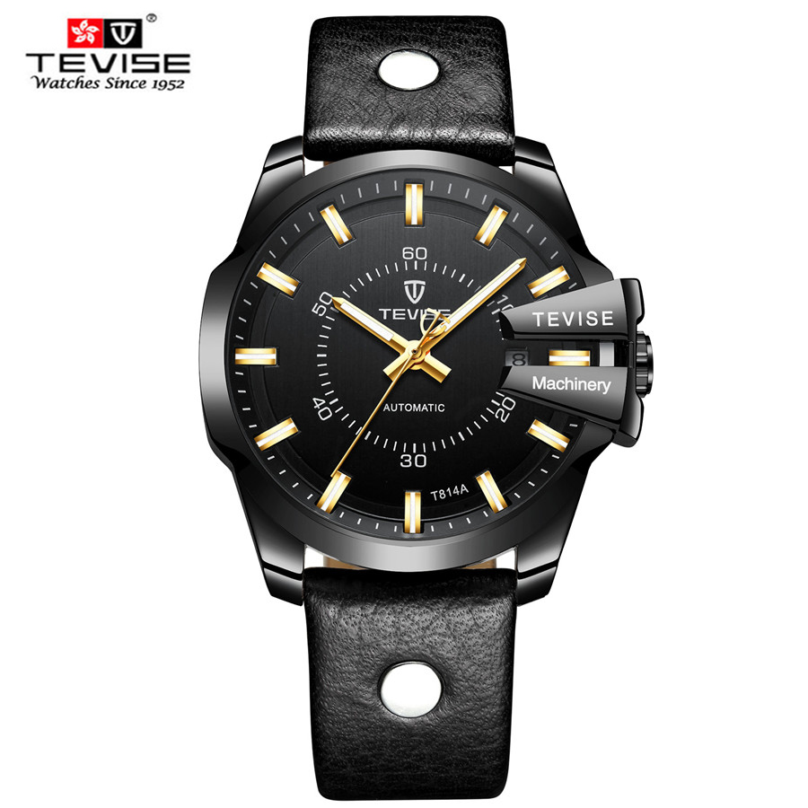 Tevise Mens Watch Casual Leather Watch Waterproof Relogio Masculino Automatic Mechanical Man Watch Business Wristwatch ClockTevise Mens Watch Casual Leather Watch Waterproof Relogio Masculino Automatic Mechanical Man Watch Business Wristwatch Clock