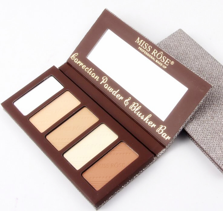1x Miss Rose Professional 5 Colors/Set Makeup <font><b>Contour</b></font> Blusher Face Powder Palette Foundation Make-up Palette Comestics