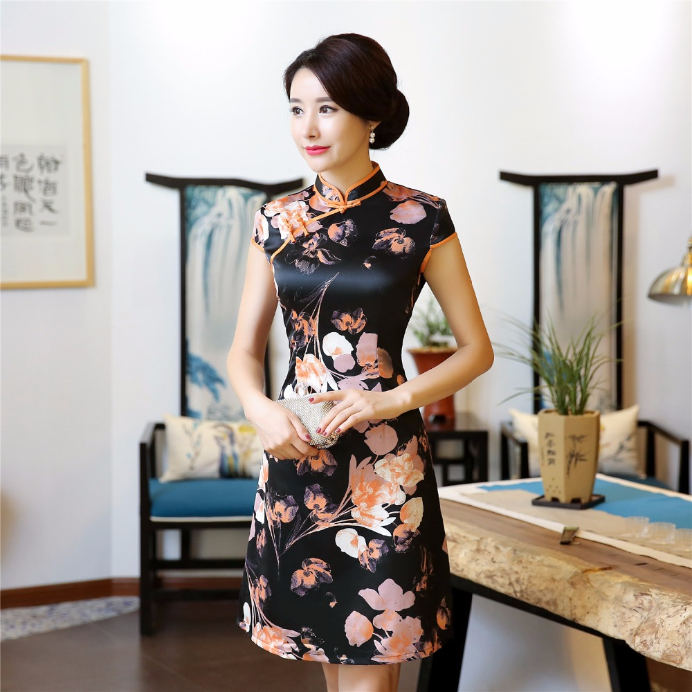 Shanghai Story Short Floral Qipao Chinese Oriental Dress Women's Cheong-sam Dress Chinese Oriental Dress For Ladies