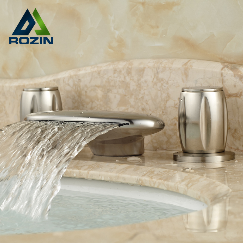 High Quality Widespread Waterfall Spout Bathroom Vanity Basin Faucet with Two Handles Brushed Nickel