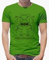 Spring Summer Promotion T Shirt Men Stitch Vitruvien Short Sleeves Character Cotton Funny Mens S XXXL