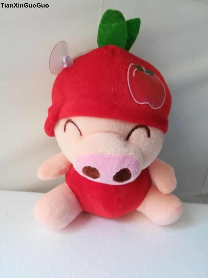 Environ 18 cm mignon cochon fruit rouge pomme conception mcterne cochon peluche jouet doux poupée bébé jouet, cadeau d'anniversaire w2903