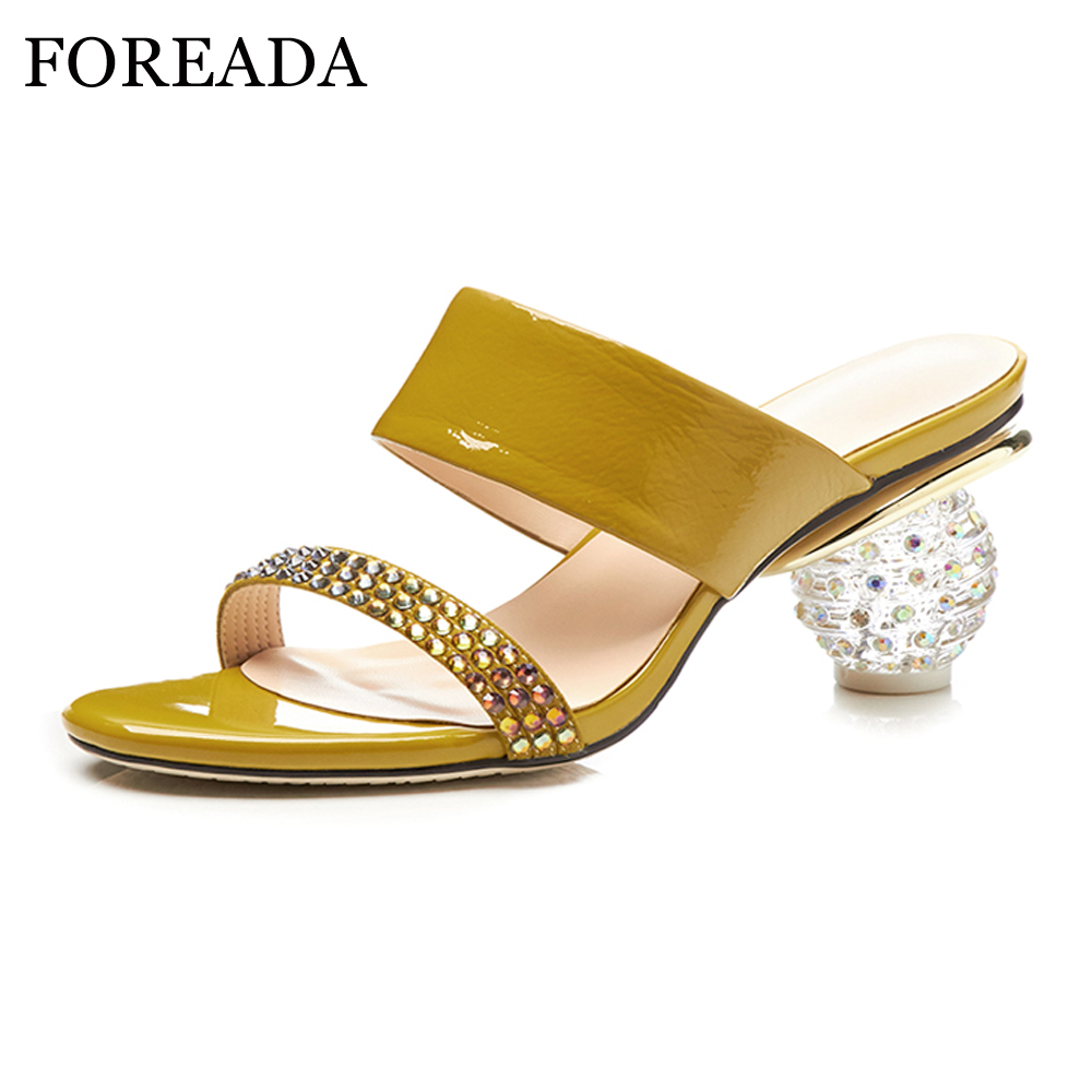 FOREADA Genuine Leather Women Sandals 2018 Strange High Heels Ladies Party Shoes Crystal ...