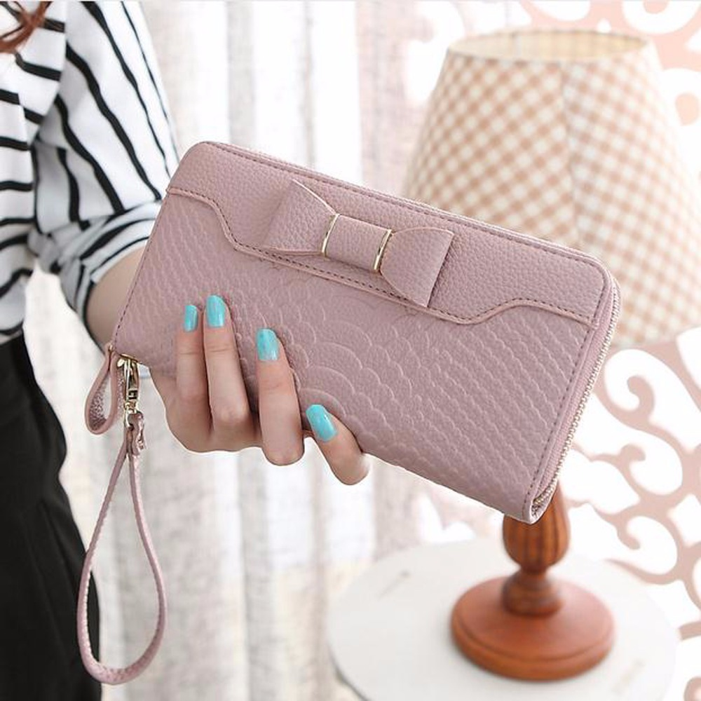 Hot Sale Women Lady Long Wallets Purse Female Candy Color Bow PU Leather Alligator Feminina for Coin Card Clutch Bow Bag 205 2016 hot fashion women wallets handbag solid pu leather long bag designer change clutch lady brand cash phone card coin purse