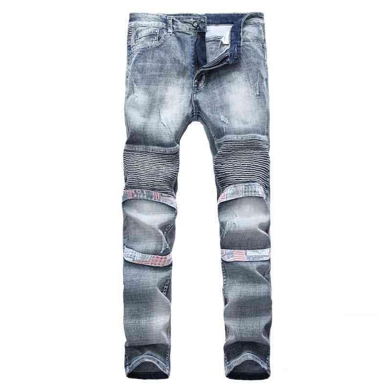 #1532 Biker clothing Jean slim homme Fashion Pleated Elastic Motorcycle jeans Designer High Quality Brand Clothing Distressed
