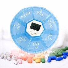 Weekly Digital Round 7 Days Pill Box Case Timer Alarm Clock Reminder Medicine