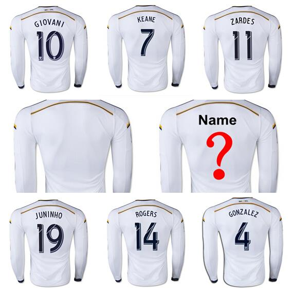 3b34774a23 Los Angeles Galaxy Soccer 10 Landon Donovan Long Sleeve Jersey LA Galaxy  Football Shirt Long 8 Steven Gerrard 23 BECKHAM ZARDES em Camisas de  futebol de ...
