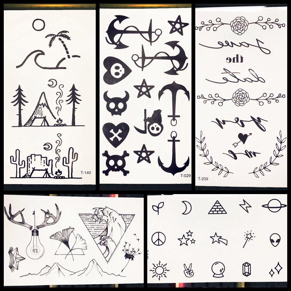 Summer Style Beach Tattoo Sticker Camping Cartoon Ghost Anchor English Letter Tattoo Girls Women Boys Kids Tattos Finger Decals