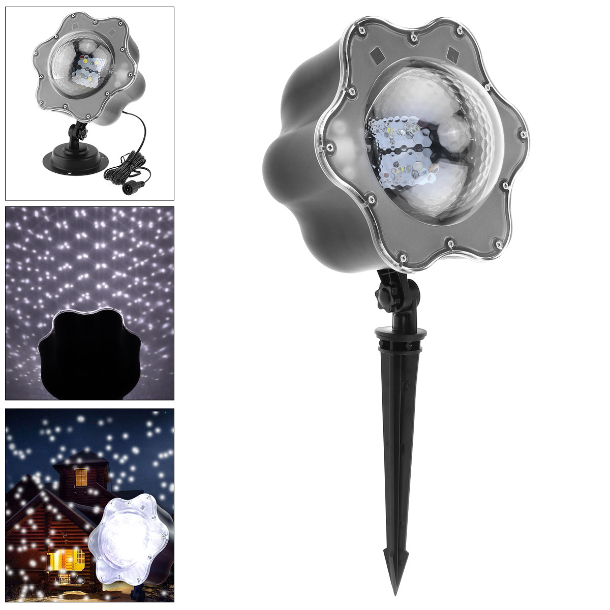 4W Indoor / Outdoor Waterproof Snow Projector Lamp with Remote Control and Ground Stake for Christmas / Holiday Decoration