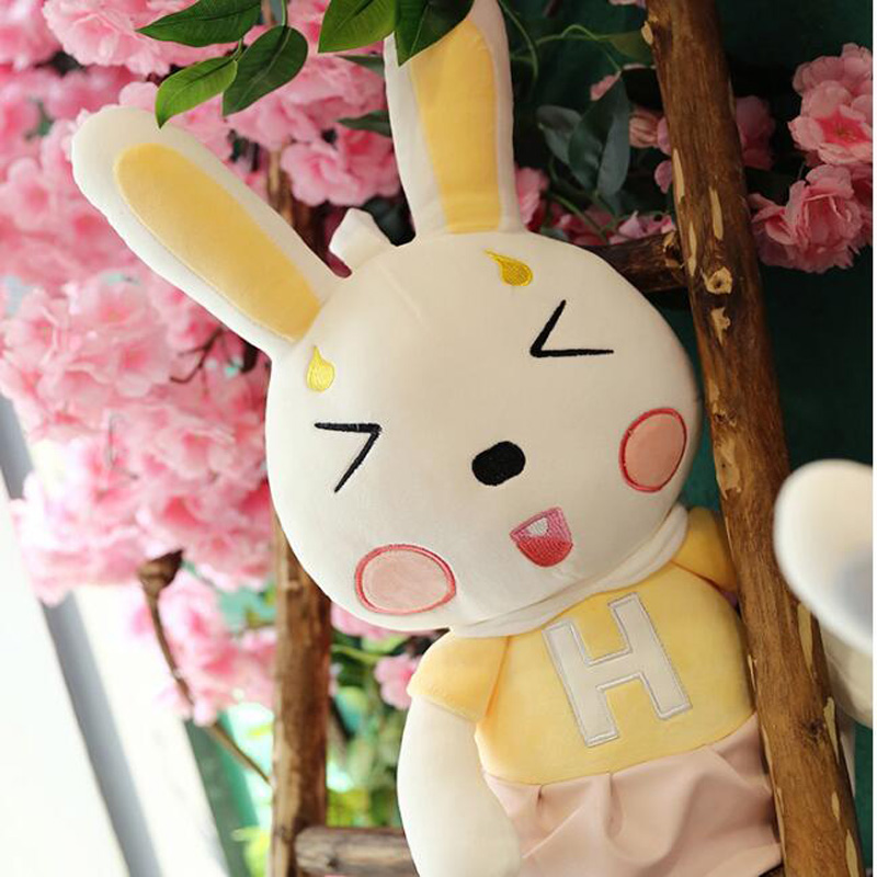 Cute Dress Pink Rabbit Couple Doll Beauty Dressing Bunny Plush Toy Girl Birthday Gift Baby Comfort