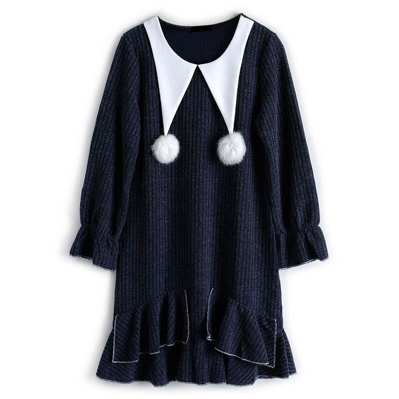 Casual Nouveau hg Ruches cou Mode Patchwork Blue Solide Pleine Femmes Wbb2024 Robe 2019 Féminine Printemps Corée Manches O Couleur qErEwFvC4