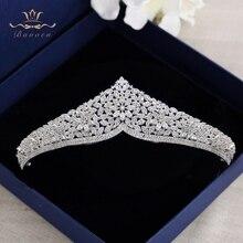 En kaliteli gelinler köpüklü zirkon kraliyet kraliçe Hairbands altın Tiaras taçlar kristal düğün saç aksesuarları akşam şapkalar