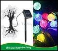 2 set/Lot 30 unids Solar bola de la burbuja led cordón de iluminación de Navidad Holidy Banquete de Boda de Navidad decoración LED lámpara de la Secuencia
