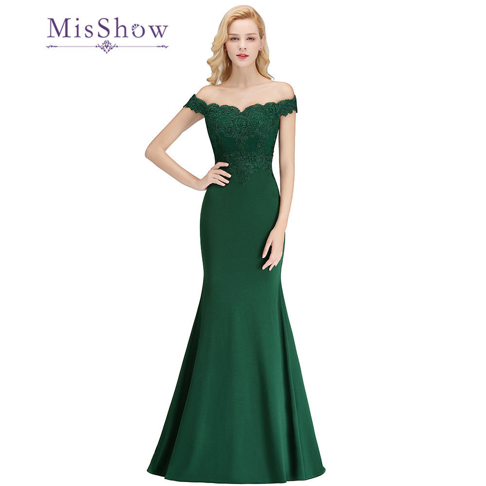 Mermaid   Bridesmaid     Dresses   Dark Green Floor Length Off Shoulder Custom Made Long Party   Dress   Vestido De Festa Longo
