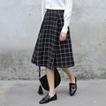 Yichaoyiliang A-line Midi Skirt Black Preppy High Waist Plaid Skirt 2017 New Arrivals Women Spring Clothing Full Skirt