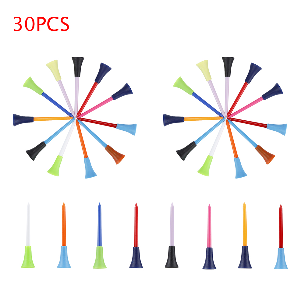 30pc Multi Color Plastic Golf Tees 83mm Durable Rubber Cushions Top Golf T-shirt with free shipping