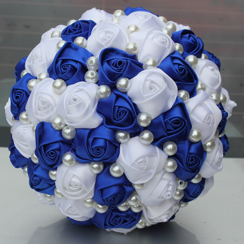 POP NEW Royal Blue White Color Pearls Beaded Bridal Wedding Bouquets Simple Durable Half Ball Bow Stitch Holding Flowers W322-5