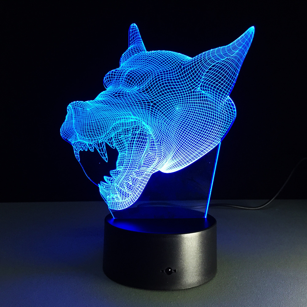 3D Visual Wolf LED Night Lights cartoon animal For Kid 7 colors touch changing Light USB Table Lamps Baby Sleeping Lights