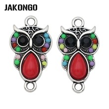 JAKONGO Antique Silver Plated Crystal Owl Connector for Jewelry Making Bracelet