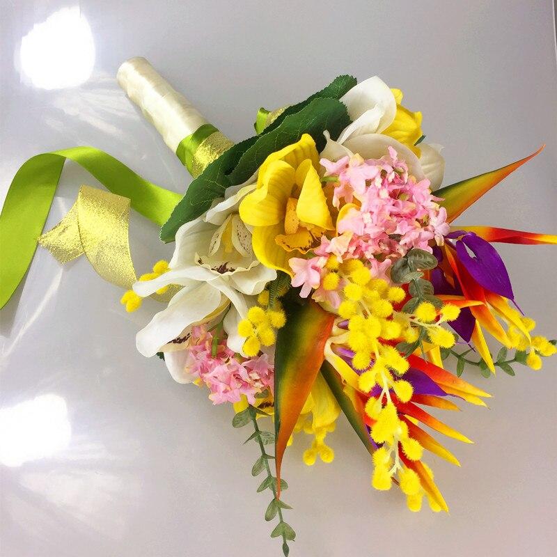 Indigo bride wedding flower bouquet cymbidium orchid bird of indigo bride wedding flower bouquet cymbidium orchid bird of paradise flower bundle silk flower event party free shipping mightylinksfo