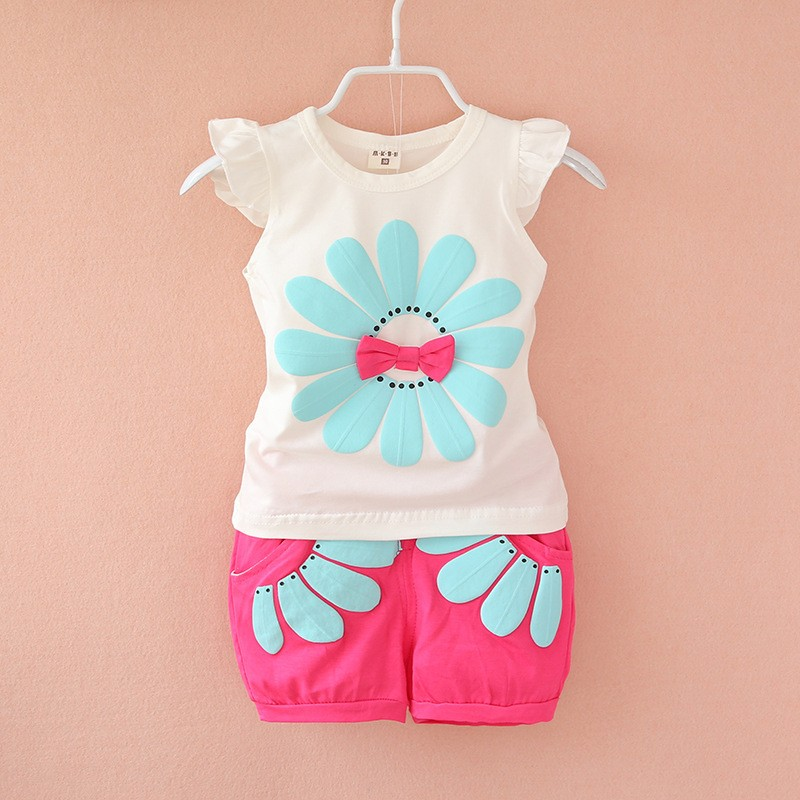 2016-fashion-toddler-Korean-baby-girls-summer-clothing-sets-bow-sunflower-girls-summer-clothes-set-kids (1)