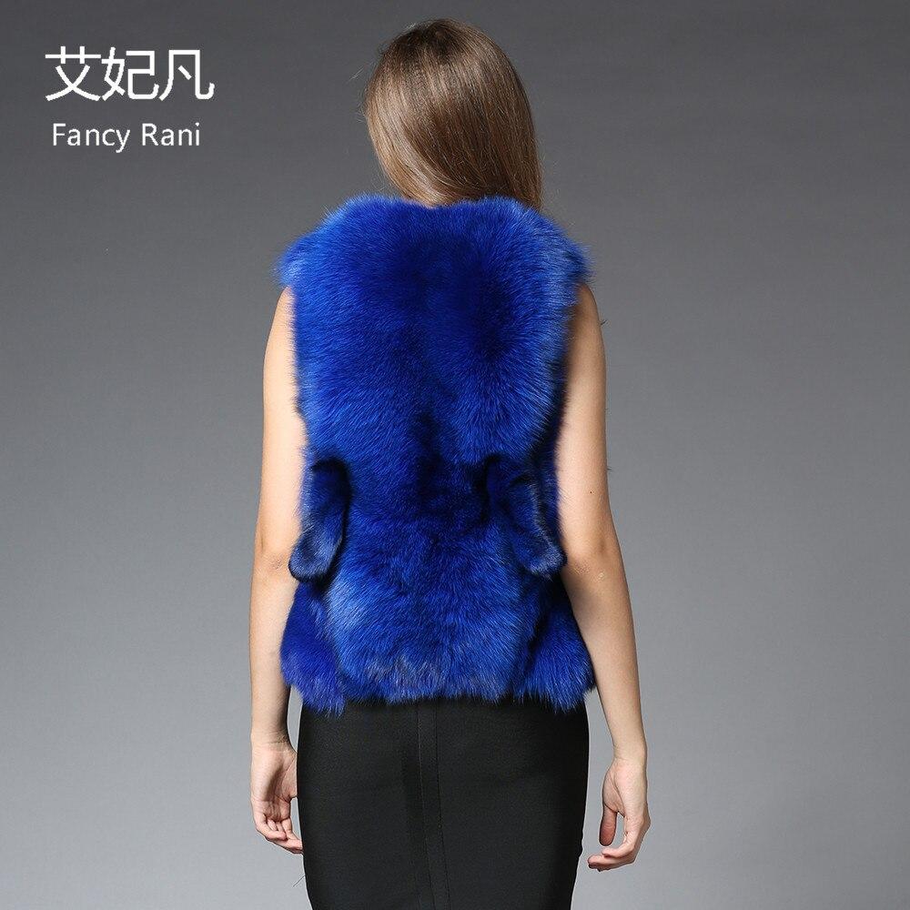 Renard 2018 Manteau Fox Veste Conception Marque Véritable Femelle De Luxe Outwear Femmes Gilet Bleu Réel D'hiver Fourrure Chefs 0P08rxwq