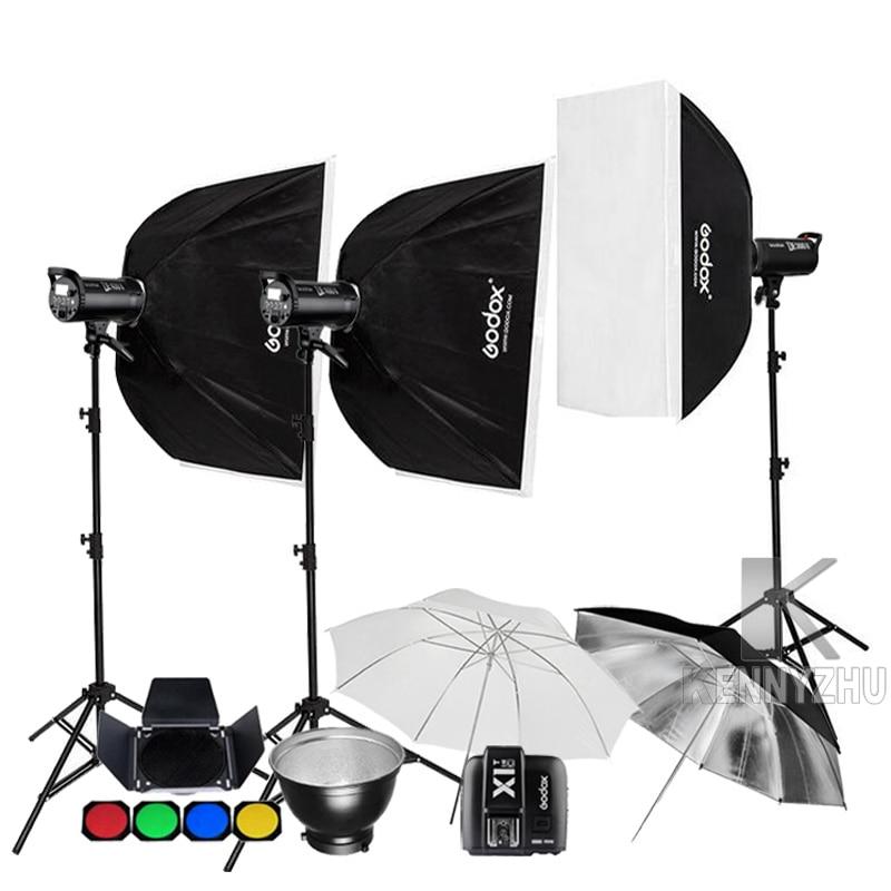Godox 3x DE400II 400Ws DE300II 300Ws 2 4G X1 Transmitter Studio Flash Lighting Kit Photo Strobe