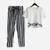Fashion Women 2 Piece Sets Sport Suit Crop Tops Letters Print T Shirt Striped Harem Pants