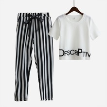 Fashion women 2 piece sets suit crop tops letters print t shirt stretchy striped harem pants elastic tracksuit vestidos S5469