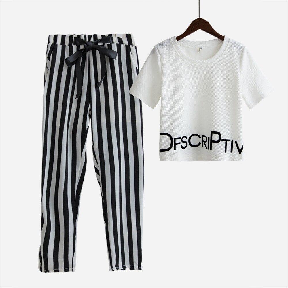 Mode femmes 2 pièce définit costume culture tops lettres imprimer t-shirt extensible rayé harem pantalon élastique survêtement robes S5469