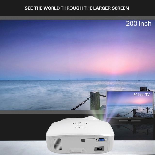 CRENOVA 2018 New LED Projector For Full HD 4K*2K Video Projector With VGA HDMI USB AV SD Home Theater Movie Beamer Proyector 1