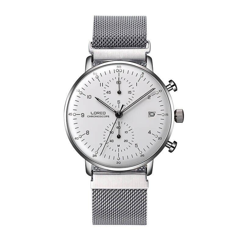 LOREO 6112 Germany Bauhaus watches Calendar Chronograph relogio masculino stainless steel men sport watch michael siebenbrodt bauhaus
