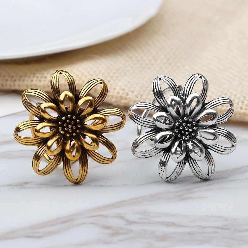 Tocona Vintage Emas Warna Perak Bunga Matahari Klip Bros Pernikahan Syal Gesper Klip untuk Wanita Wanita Perhiasan Hadiah 3559